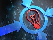 Icono de la bombilla en los antecedentes de Digitaces. Foto de archivo libre de regalías