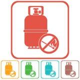 Icono de la botella de gas que acampa Foto de archivo libre de regalías