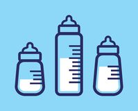 Icono de la botella de leche del bebé Imagen de archivo