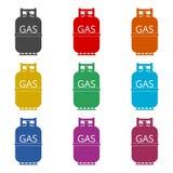 Icono de la botella de gas, iconos del color fijados Foto de archivo libre de regalías