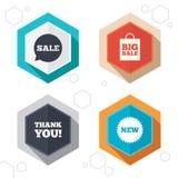 Icono de la burbuja del discurso de la venta Gracias símbolo Fotos de archivo