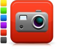 Icono de la cámara de la foto en el botón cuadrado de Internet Fotos de archivo libres de regalías