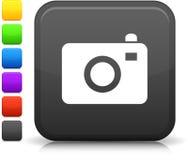 Icono de la cámara de la foto en el botón cuadrado del Internet Fotos de archivo