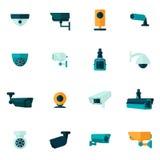 Icono de la cámara de seguridad plano Fotos de archivo libres de regalías