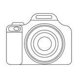 Icono de la cámara digital en estilo del esquema aislado en el fondo blanco Símbolo del resto y del viaje Foto de archivo libre de regalías