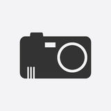 Icono de la cámara en el fondo blanco Imagen de archivo