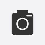 Icono de la cámara en el fondo blanco Fotografía de archivo