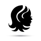 Icono de la cabeza de la mujer de la silueta Imagen de archivo libre de regalías