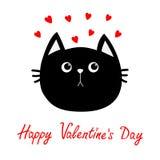 Icono de la cabeza del gato negro Sistema rojo del corazón Personaje de dibujos animados divertido lindo Tarjeta de felicitación  Foto de archivo