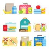 Icono de la caja de almuerzo escolar del ` s de los niños en estilo plano Imagen de archivo libre de regalías