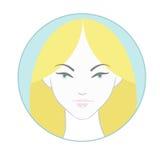 Icono de la cara de la mujer joven Foto de archivo libre de regalías