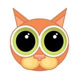 Icono de la cara del gato de la historieta Icono emocional, culpabilidad, disculpa ilustración del vector