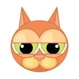 Icono de la cara del ` s del gato de la historieta Emoción del abatimiento, culpabilidad, desesperación stock de ilustración