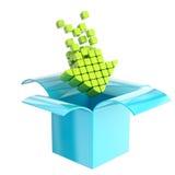 Icono de la carga por teletratamiento como flecha dentro de la caja Foto de archivo libre de regalías