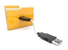 Icono de la carpeta 3d. Onnect del USB. Icono Foto de archivo