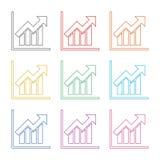 Icono de la carta de crecimiento, iconos del color fijados Fotos de archivo libres de regalías