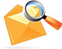 Icono de la carta y de la lente Fotografía de archivo