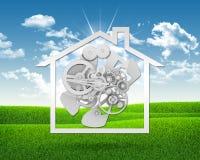 Icono de la casa con los engranajes Imágenes de archivo libres de regalías