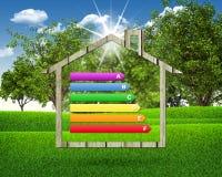 Icono de la casa con rendimiento energético de la rejilla Fotos de archivo libres de regalías