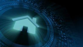 Icono de la casa del hogar de la proyección del hud del holograma de la mano del hombre de negocios ilustración del vector