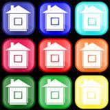 Icono de la casa en los botones Foto de archivo