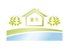 Icono de la casa verde Foto de archivo