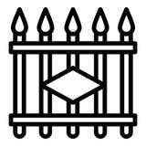 Icono de la cerca del metal, estilo del esquema stock de ilustración