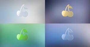 Icono de la cereza 3d Foto de archivo libre de regalías