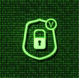 Icono de la cerradura de la seguridad del escudo del vector, muestra que brilla intensamente verde clara en fondo del código bina imagenes de archivo