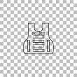 Icono de la chaqueta de fuego antia?reo de la polic?a o del chaleco a prueba de balas completamente stock de ilustración