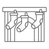 Icono de la chimenea de los calcetines de Navidad, estilo del esquema ilustración del vector
