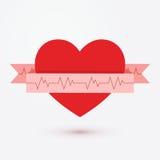 Icono de la cinta del corazón aislado en el vector blanco del fondo Símbolo del cardiograma Fotos de archivo libres de regalías