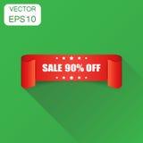 Icono de la cinta de la venta el 90% Venta del concepto del negocio etiqueta engomada del 90 por ciento Foto de archivo libre de regalías