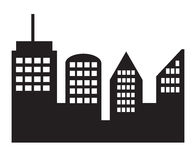 Icono de la ciudad en el fondo blanco Fotos de archivo libres de regalías