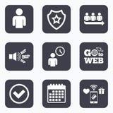 Icono de la cola Muestra que espera de la persona Control y tiempo Imagenes de archivo