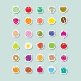 Icono de la comida en etiquetas engomadas con un esquema y una sombra blancos ilustración del vector