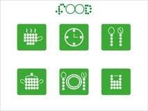 Icono de la comida fijado de círculos Imagenes de archivo