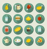 Icono de la comida fijado en las banderas. Imágenes de archivo libres de regalías