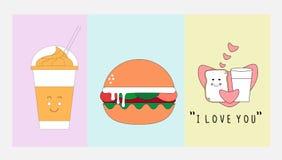 Icono de la comida y de la bebida fijado con concepto de diseño plano libre illustration