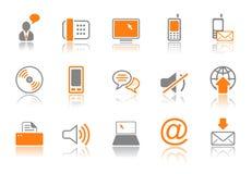 Icono de la comunicación fijado - serie anaranjada ilustración del vector