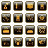 Icono de la comunicación fijado - serie de oro ilustración del vector