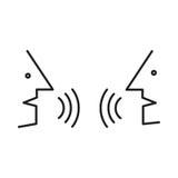 Icono de la comunicación Forma de la cabeza humana con vector en blanco de la nube del diálogo stock de ilustración