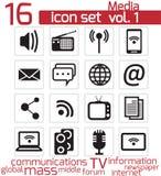Icono de la comunicación y de los medios Stock de ilustración