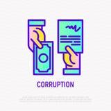 Icono de la corrupción: acuerdo en el intercambio de dinero ilustración del vector
