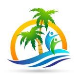 Icono de la costa del dise?o del logotipo del vector de la palmera del coco de la playa del verano del d?a de fiesta del turismo  fotos de archivo libres de regalías