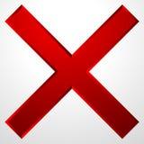 Icono de la Cruz Roja con efecto biselado La cancelación, quita el icono, muestra ilustración del vector