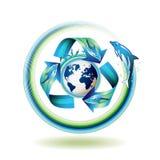 Icono de la ecología con los delfínes Foto de archivo libre de regalías