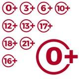 Icono de la edad del límite en fondo rojo Ejemplo plano del vector del límite de edad de los iconos ilustración del vector
