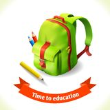 Icono de la educación de la mochila stock de ilustración