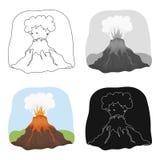 Icono de la erupción del volcán en estilo de la historieta aislado en el fondo blanco Dinosaurios y vector prehistórico de la acc ilustración del vector